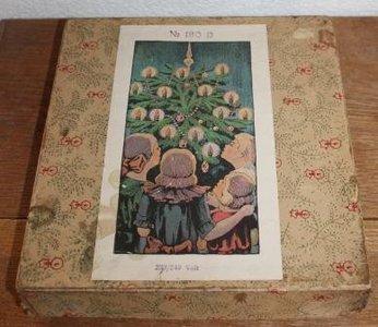 Antieke vintage brocante doos kerstboomverlichting