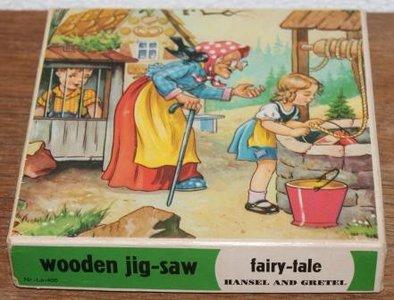 Vintage brocante houten sprookjes puzzel Hans & Grietje