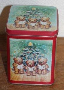 Brocante blikje met zingende beertjes bij kerstboom