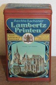 Oud brocante koekblikje Aechte Aachener Lambertz Printen