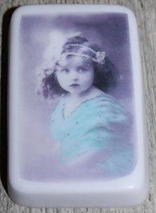 Brocante stuk lila zeep vintage blauw meisje, lavendel geur