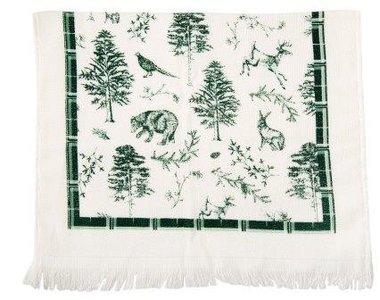 Brocante handdoekje Kerstmis groene bosdieren Clayre & Eef