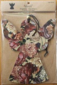 Brocante kartonnen kerstengeltje pastel botanische bloemen 22 cm