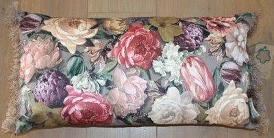 Botanisch brocante kussentje grote bloemen 30x60 cm Imbarro