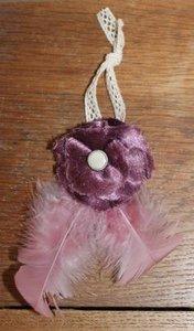 Decoratieve stoffen bloem paars fluweel, veren & kant