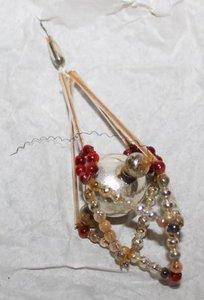 Antieke glazen Gablonzer kerstbal, hanger zilver/bruinrood