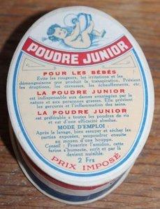 Oud brocante doosje talk babypoeder Poudre Junior