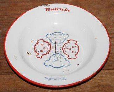 Vintage brocante enamel porridge plate Nutricia baby food animals