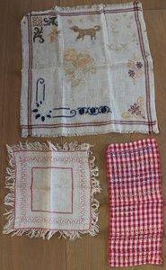 Set v 3 antieke vintage brocante geborduurde tafelkleedjes
