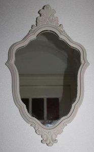 Grote vintage brocante beige ovale sierlijke barok spiegel 38x63 cm