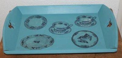Brocante blauwe houten dienblad vintage kop & schotels