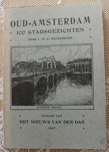 Vintage boek Oud-Amsterdam 100 stadsgezichten 1907