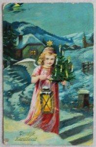 Antieke vintage brocante kerstkaart engeltje met lantaarn, kleur