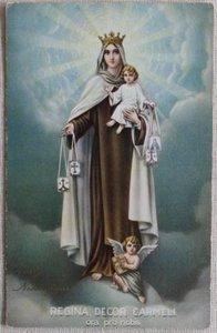Antieke vintage brocante kerstkaart Maria met kind en engeltje