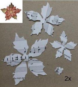 2 st 3D Kerststerren bloemen maken v muziekpapier Tim Holtz