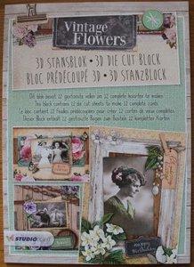 A4 Stansblok 3D Vintage Flowers foto's en bloemen 12 kaarten
