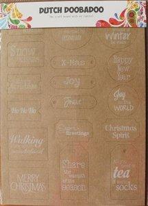 Labels kraft karton kerstmis teksten, stansvel DDBD