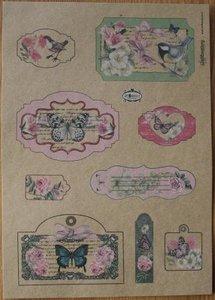 A4 Kraftpapier labels botanical serie, rozen, vogels etc.