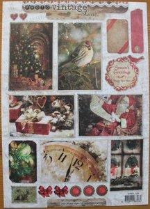 A4 Knipvel Vintage Line Photo kerst labels