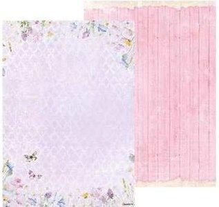 Basispapier achtergrondvel Beautiful Flowers 219 veldbloemen, roze hout