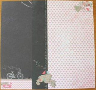 Basispapier achtergrondvel Creative Chalk 188, hartjes, vogels, fiets