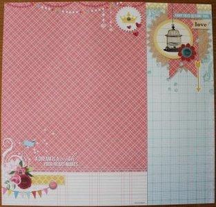 Basispapier achtergrondvel Flower Delight 185, vlaggetjes, ruitjes, vogelkooi