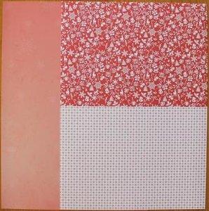 Basispapier achtergrondvel Kerstmis rood ijs sneeuwvlokken