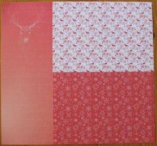 Basispapier achtergrondvel Kerstmis rood rendieren ijskristallen