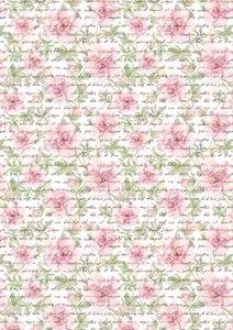 Basispapier achtergrondvel 3113 sierlijke teksten en rozen