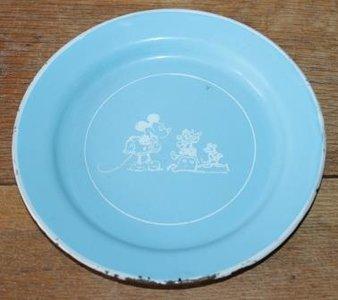 Vintage brocante lichtblauwe emaillen bordje Mickey Mouse Disney
