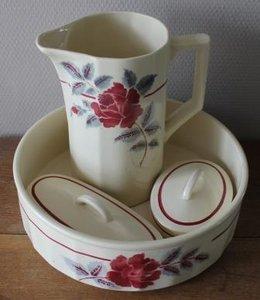 Vintage brocante lampetstel kan schaal zeep kammenbakje rozen roos