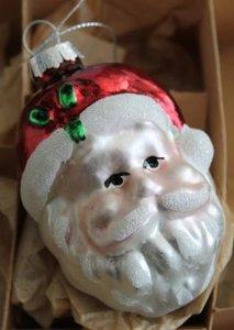 Vintage brocante glazen kerstballen kerstman hoofd gezicht nostalgische