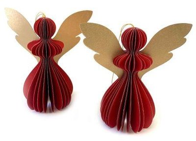 Kerstengeltjes rood rode gouden honeycombs 3D Imbarro Angel Gabriela S red set