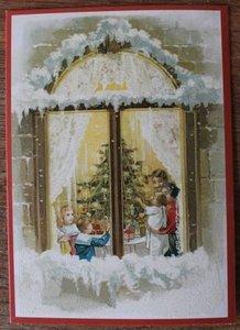 Vintage brocante kerstkaarten ansichtkaarten kindjes kerstboom raam glitters