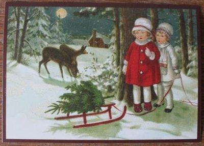 Vintage brocante kerstkaarten ansichtkaarten kindjes slee hertjes glitters