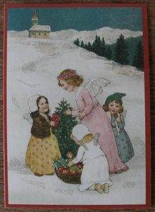 Vintage brocante kerstkaarten ansichtkaarten kindjes engeltje cadeautjes sneeuw glitters